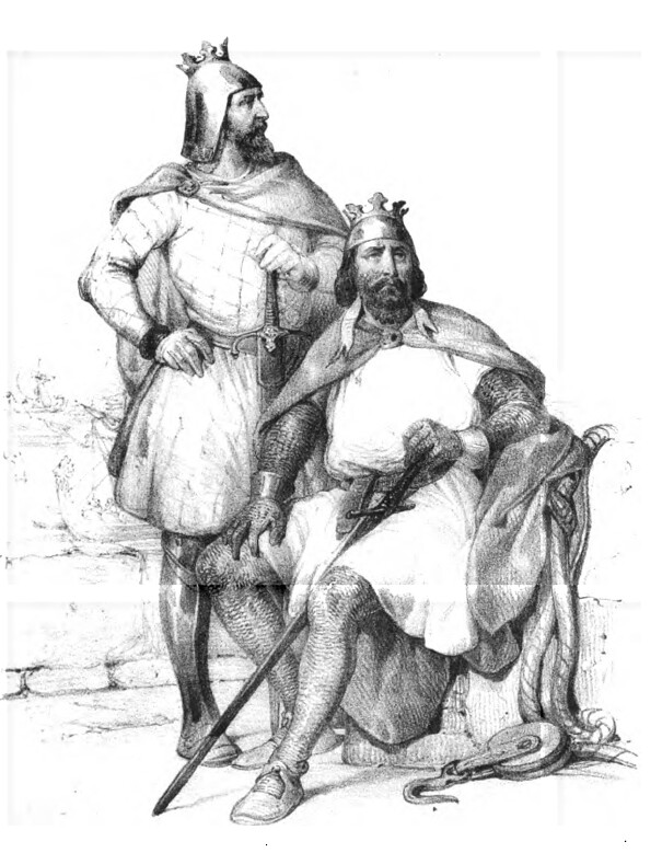 "Depiction of Robert Guiscard And Count Roger from ""Les Normands en Sicile"" by Antonino Buttitta"