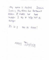 Letter sent by Mabel Johnson, age 7