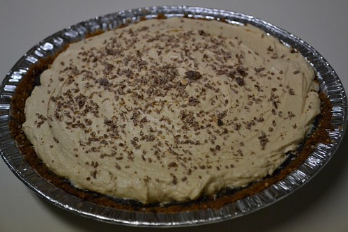 Chocolate Peanut Butter Pie with shaved chocolate