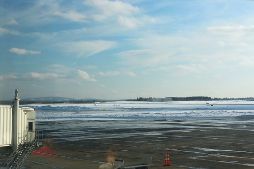 snow tarmac clouds airport bangor maine international runway