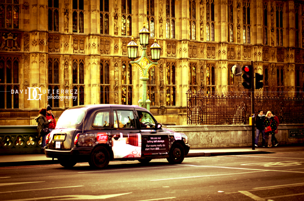 London Cab and Houses of Parliament by David Gutierrez Photography, London Photographer