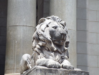 McMillian Memorial Library_One of a set of stone lions flanking the library entrance