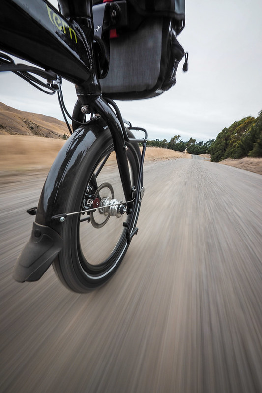 Coming down the Redwood Pass on a Tern Verge S27h folding touring bike near Seddon, New Zealand