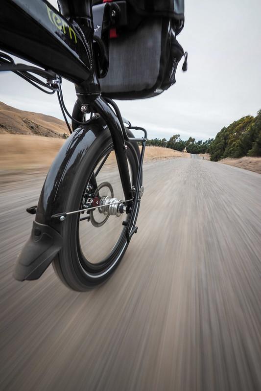 Coming down the Redwood Pass on a Tern Verge S27h folding touring bike near Seddon, New Zealand