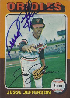 1975 O-Pee-Chee - Jesse Jefferson #539 (Pitcher) (b. 3 Mar 1949 - d. 8 Sep 2011 at age 62) - Autographed Baseball Card (Baltimore Orioles)
