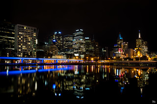 Melbourne City Lights Reflected Signed
