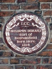 Photo of Benjamin Disraeli brown plaque