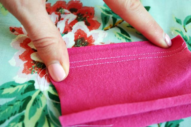 straight stitch seam stretched