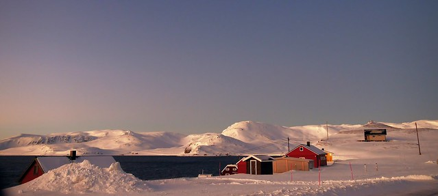 Red houses in a white world. Finnmark, Norway, Arctic