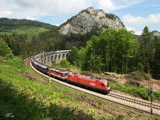 Изображение на Semmering railway близо до Semmering. track railway viaduct taurus bahn 116 semmering obb 1142 rinne kalte kalterinne