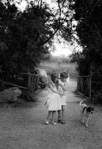 Two Little Girls & Dog