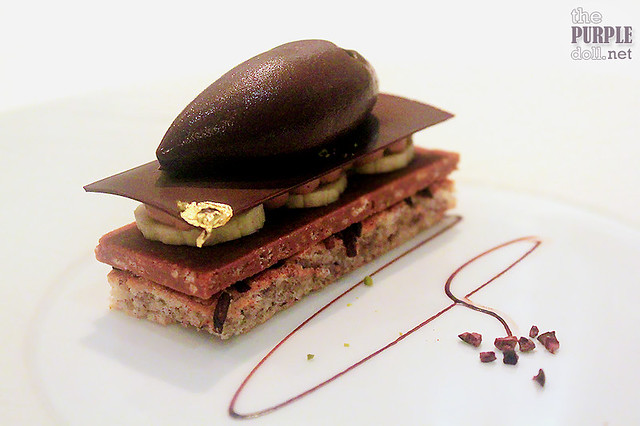Chocolate banana mille-fuille with variation of textures, cocoa sorbet