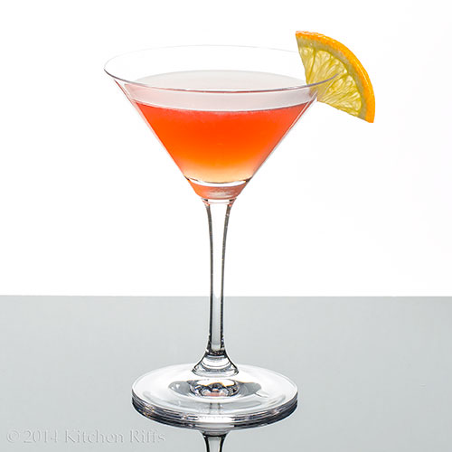 Scofflaw Cocktail in cocktail glass with orange slice garnish