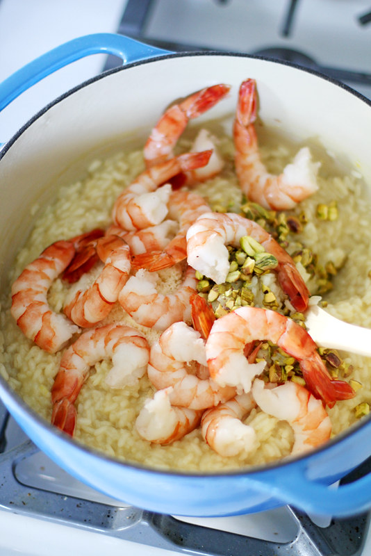 Saffron Risotto with Shrimp and Pistachios | girlversusdough.com @stephmwise