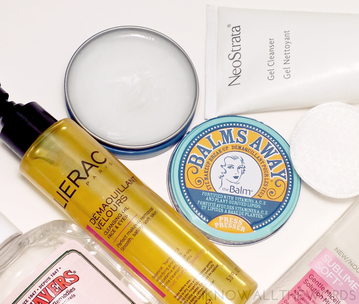 the clean team- lierac velours cleansing oil, the balm balms away, neostrata gel cleanser