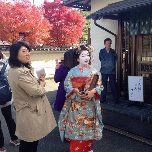 Kyoto - Walking to the small scenic train, we saw a woman dressed like a geisha.