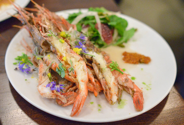 SANTA BARBARA SPOT PRAWNS arugula, blood orange, fennel, sicilian pistachio