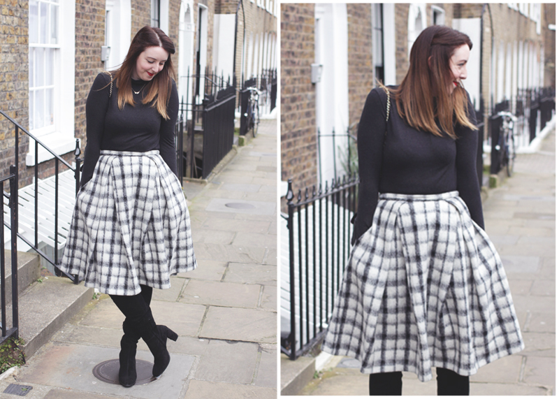 Asos tweed skirt, Zara knee high Boots, Bumpkin Betty