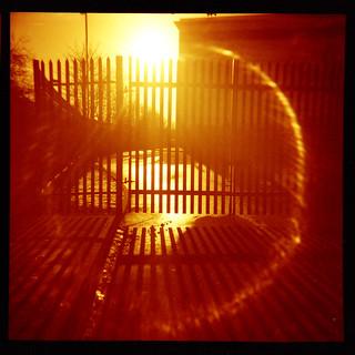 sun, flare and gates