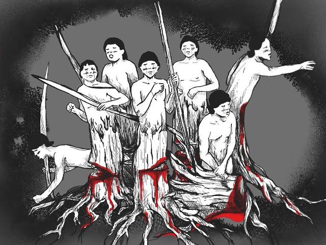 亞馬遜原住民陰森林砍乏而遭到迫遷,離開自己土地的他們,要如何在現實世界中生存呢?繪圖:滿延芬
