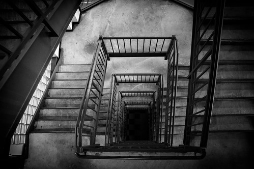 stairs sunrise hall hole stairwell glassbricks