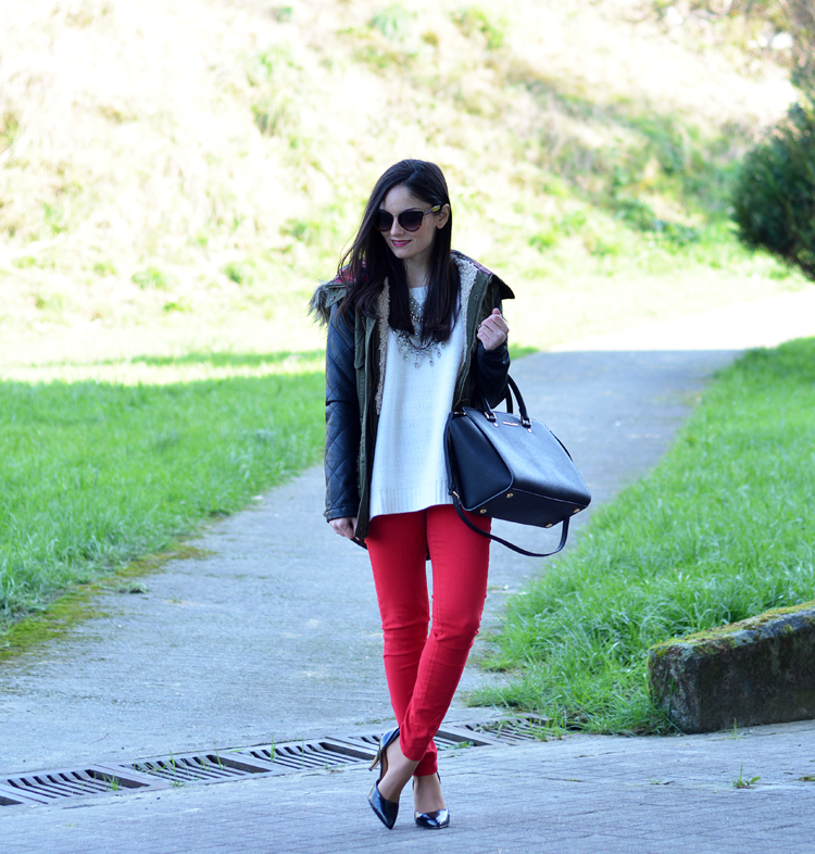 ZARA_ootd_chicwish_sheinside_parka_necklace_rojo_michael kors_01