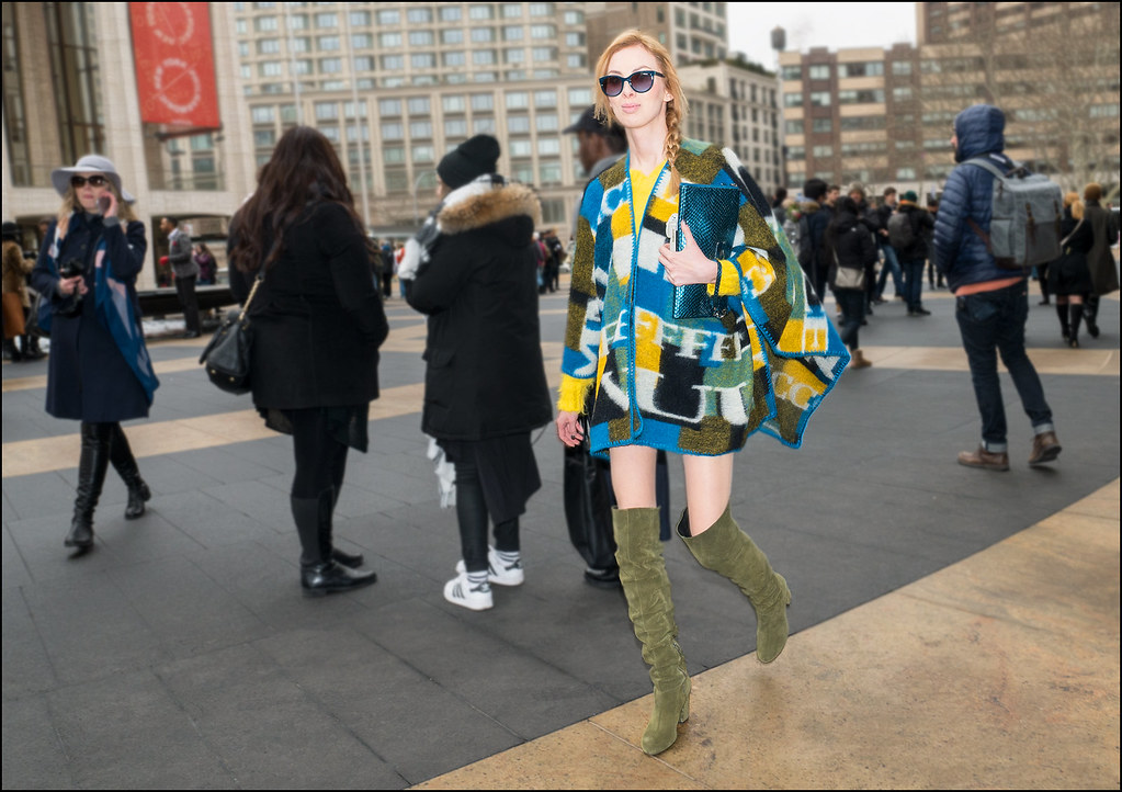 FW2-15 24w blue yellow white print poncho over yellow shirt green suede boots red head