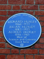 Photo of Leonard Huxley, Julian Huxley, and Aldous Huxley blue plaque