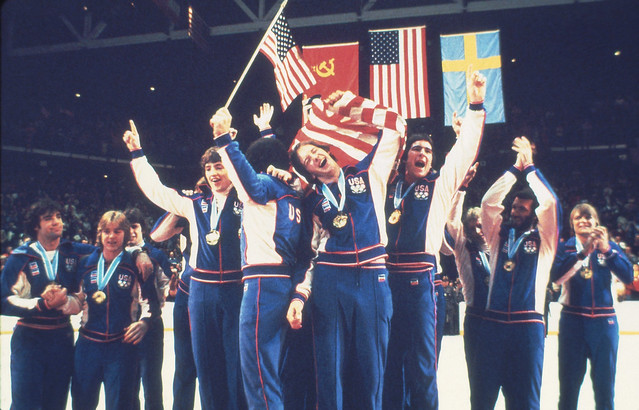 1980 USA Hockey Team on podium