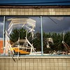 Wrecked blinds dangle in what used to be a window of Bartell Drugs in Ballard. #destruction #ballard #Seattle #construction #stormy #progress