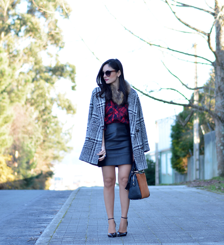 Zara_plaid_ootd_inspiration_outfit_skirt_leather_coat_fur_01