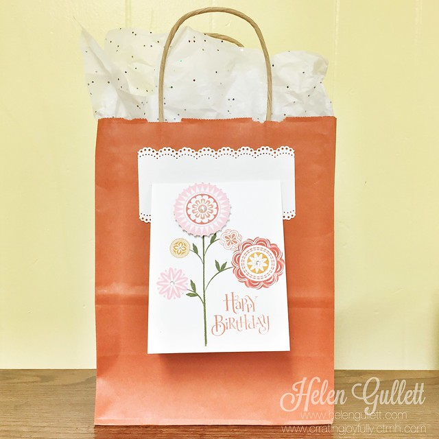 DIY Birthday Gift Bag, Gift Card Box, and Card Holder by Helen Gullett |  http://helengullett.com/?p=6602 | Make your own gift bag with a card holder. #ctmh #stampofthemonth #ahappyhello #giftbag #handmadecard #giftidea #handmadegift #diy #papercrafting #stamping #embossing #birthdaycard #birthdaygiftbag