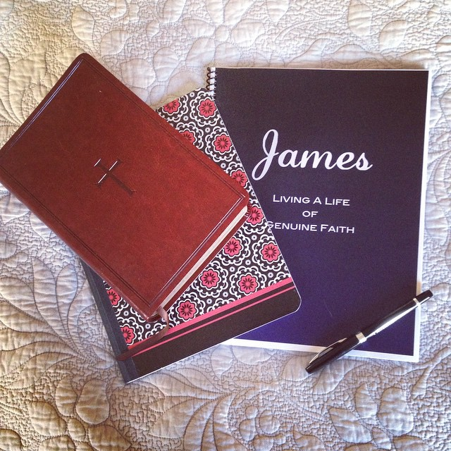 Bible studies although honestly I sometimes dread the load they can bring they do encourage and push me to get into the word more. This study is on the book of James: looking forward to learning more. ???????? #biblestudy