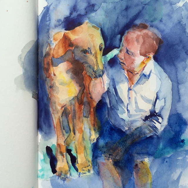 "Watercolour painting by Ako Lamble ""Mike and Henry"" Process7"