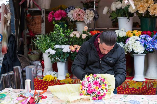Preparing the bouquet