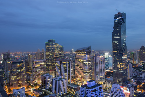 Bangkok skyline at twilight, Thailand.