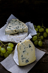 Set of cheese with a white and blue mold