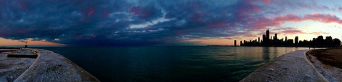 winter sunset panorama lake chicago mobile skyline lakemichigan lakeshore lakefront iphone northavenuebeach mobilephotography iphoneography mobiography