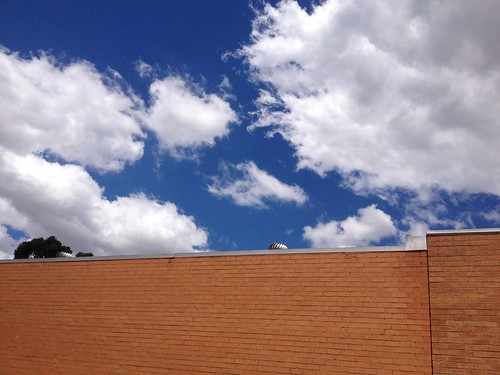 The sky behind the wall