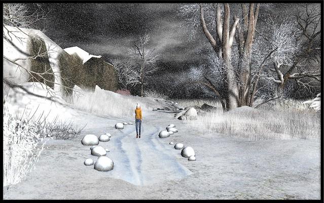 Figure in a landscape: snow shower