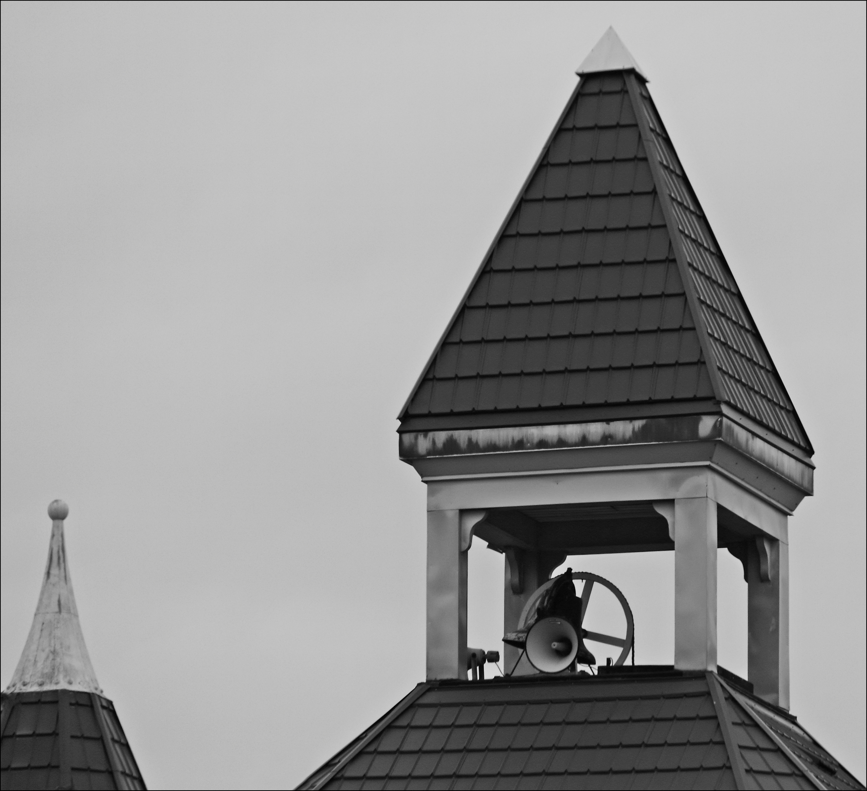 Church Tower. bw, ontario, tower, church, window, car, canon, out, taken, windsor, megaphone, 60d. buy photo