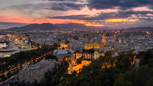 sunset clouds spain cathedral andalucia malaga miradordegibralfaro