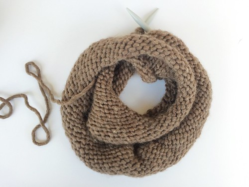 browl wool roving chunky knit cowl