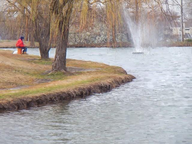 Lafortune Gardens Pond Fisherman Topaz Impressions Van Gogh I