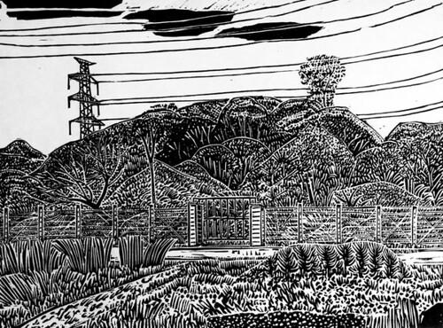 版畫〈有鐵絲圍籬的風景〉,吳松明提供