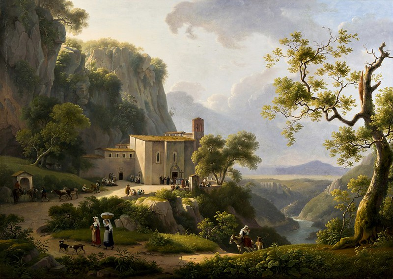 Marin Verstappen - View of a Monastery in the Roman Countryside (1819)