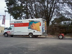 U-Haul Truck And Car Tow Trailer.
