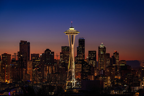 seattle city sunrise washington cityscape spaceneedle downtownseattle