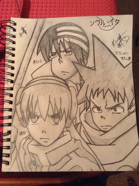 Maka Albarn, Death the Kid, and Black Star from Soul Eater. Screenshot from the Anime! Hand drawn!  -Kayti the Mangaka