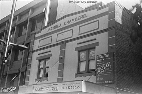 Kembla Chambers building, Wollongong (1946 expired Kodak Fluorographic 35mm film)